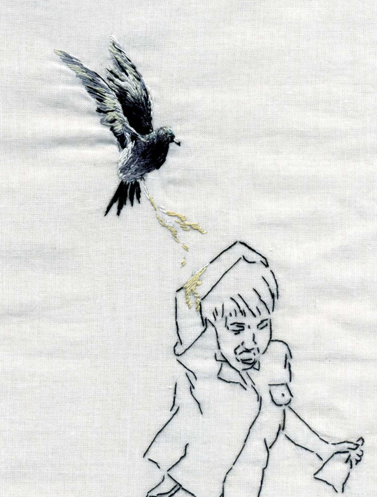 Embroidery art of animals behaving badly by Ana Teresa Barboza
