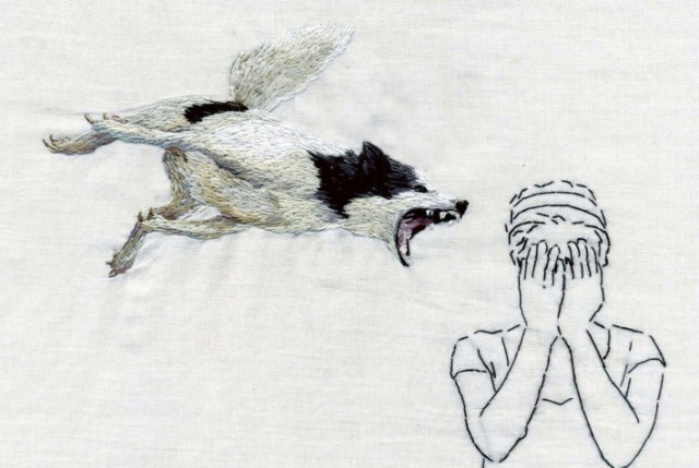 Embroidery art of animals behaving badly by Ana Teresa Barboza