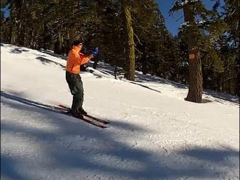 Musician Plays a Trombone While Skiing Downhill in Lake Tahoe