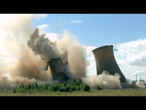 Five Massive Cooling Towers Collapsing in Slow Motion