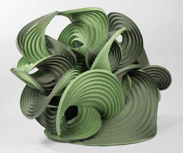 Self-folding origami sculptures by Martin Demaine and Erik Demaine