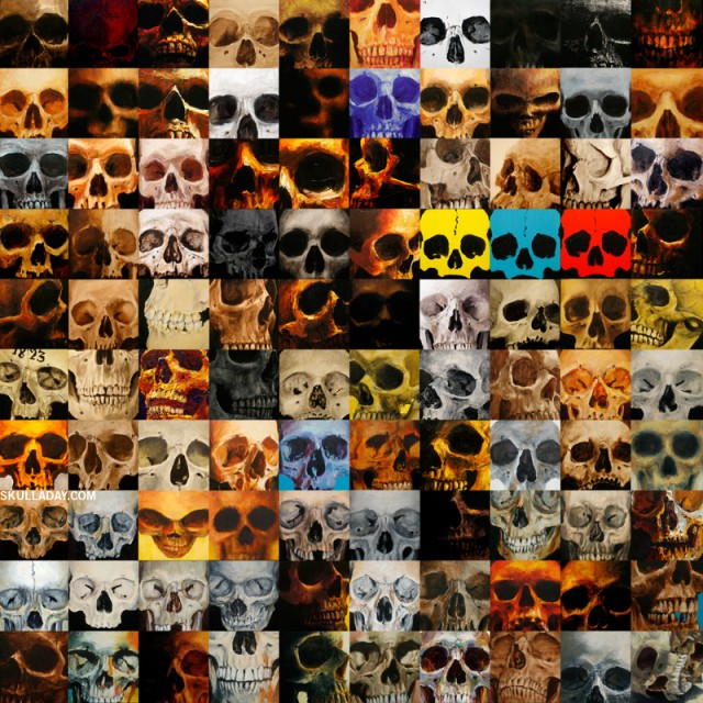 100 Skull Paintings by Noah Scalin of Skull-A-Day