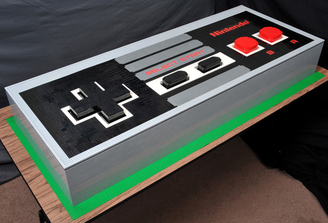 Giant LEGO NES Controller by Julius von Brunk