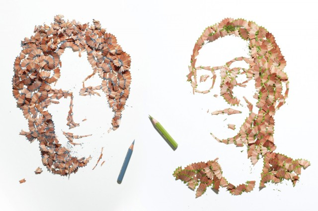 Pencil shaving portraits by Kyle Bean
