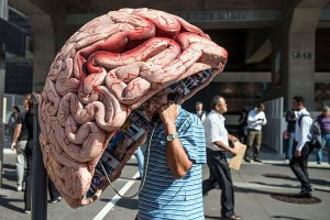 Giant brain phone booth