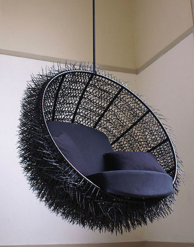& Sea-Urchin A Hanging Lounge Chair Made with 8000 Cable Ties