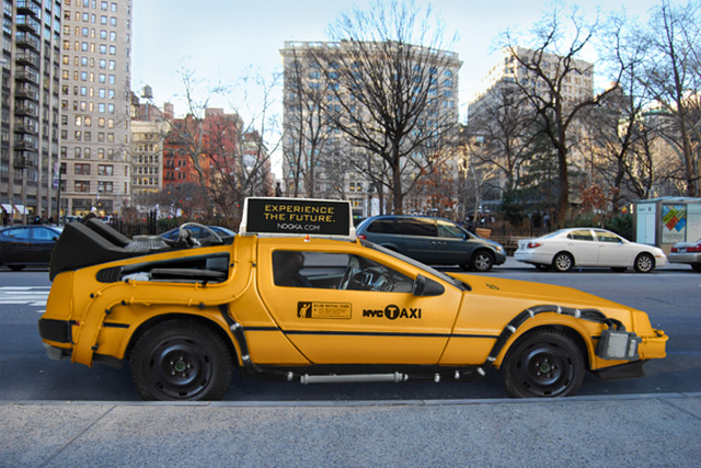 A Delorean As An Iconic New York City Yellow Taxi Cab