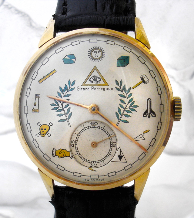 Masonic Dial Watch Face Features Freemason Symbols 1950s