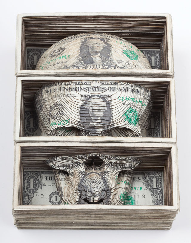 Laser cut dollar art by Scott Campbell