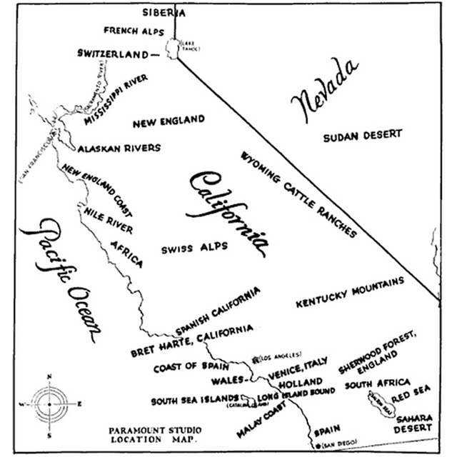 Show California Map.1927 Paramount Studio Map Of Potential Film Shooting Locations In