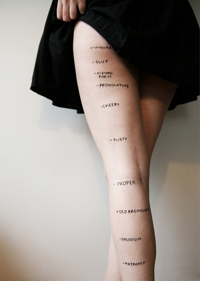 Skirt-Length Decency Levels on a Woman's Leg