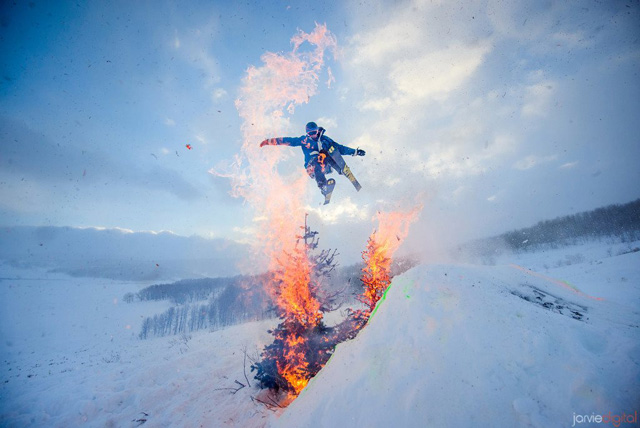 Snow Jumping Through Flaming Christmas Trees
