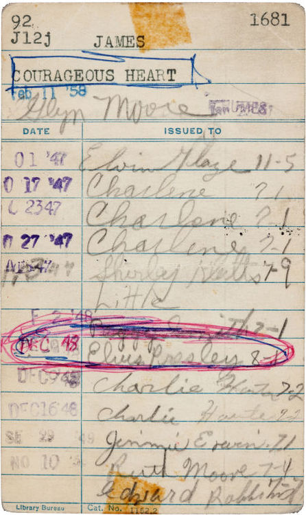 A Library Check-Out Card Signed by Elvis Presley, When he was 13