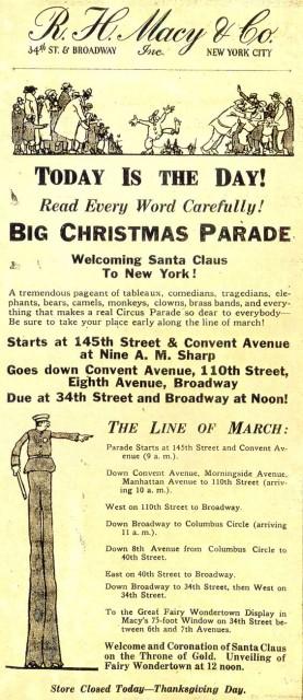 1st Macy's parade flyer