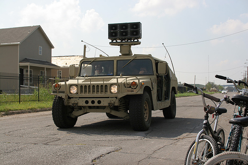 Army vehicle with speakers