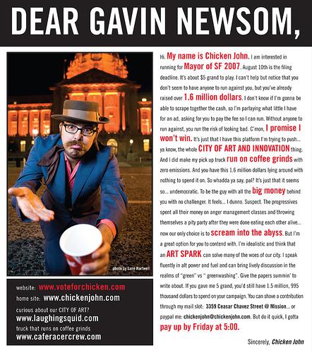 Dear Gavin Newsom, Hi, My Name is Chicken John…
