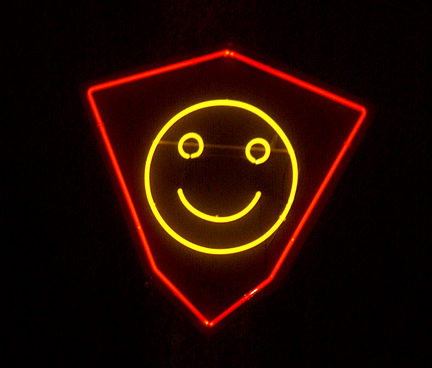 The Neon Smiley Face at Burning Man 1996