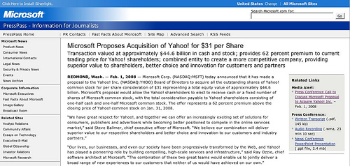 Microsoft Makes Unsolicited Offer to Buy Yahoo! for 44.6 Billion