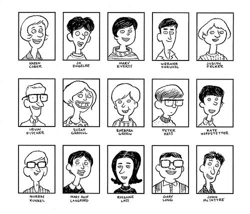 John Martz's Cartoon Drawings of His Mom's 1968 Yearbook