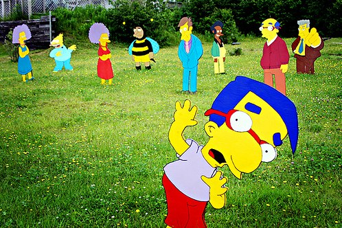 Life Size Cutouts of The Simpsons in Nova Scotia Front Yard
