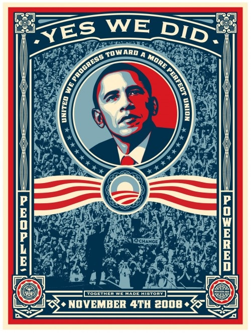 Yes We Did, Obama Victory Stickers & Posters by Shepard Fairey