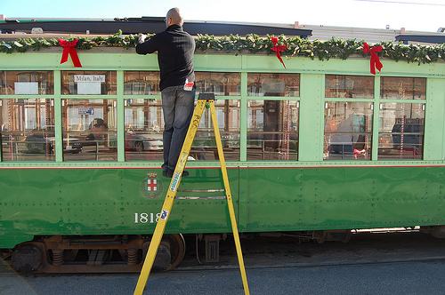 San Francisco Streetcars + Kids + Christmas = Fun