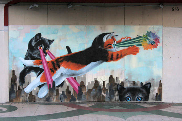 Awesome Laser Cat Mural in San Francisco
