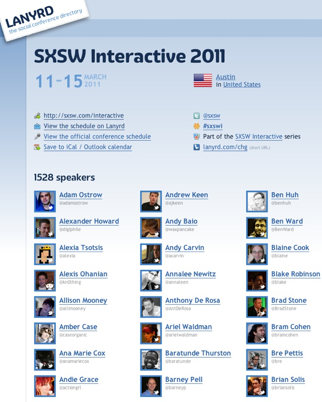 Lanyrd's Guide To SXSW Interactive 2011