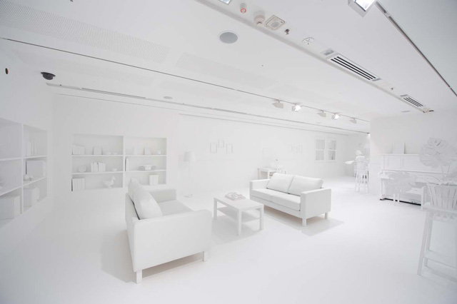 Japanese. The Obliteration Room  Kids Cover All White Room in Polka Dots