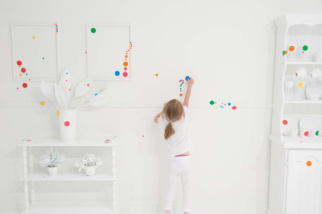 The Obliteration Room Kids Cover All White Room in Polka Dots
