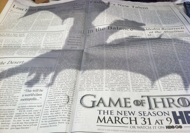 Game of Thrones Dragon Ad Takes Over The New York Times