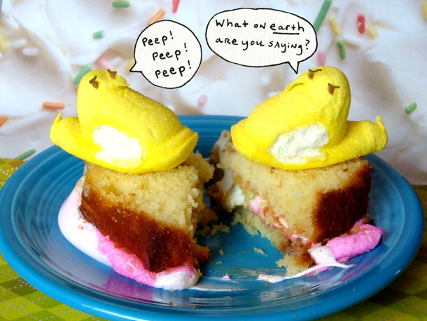 Marshmallow Peeps Fluffernutter Sandwich