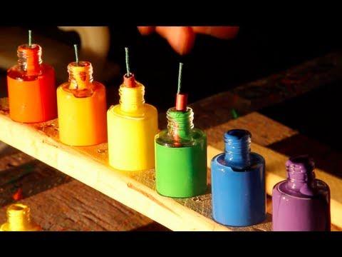 Bottles of Paint Exploding in Super Slow Motion
