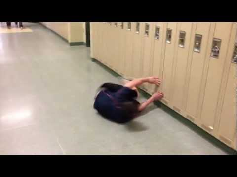 High Schooler Hallway Swims Between Lockers