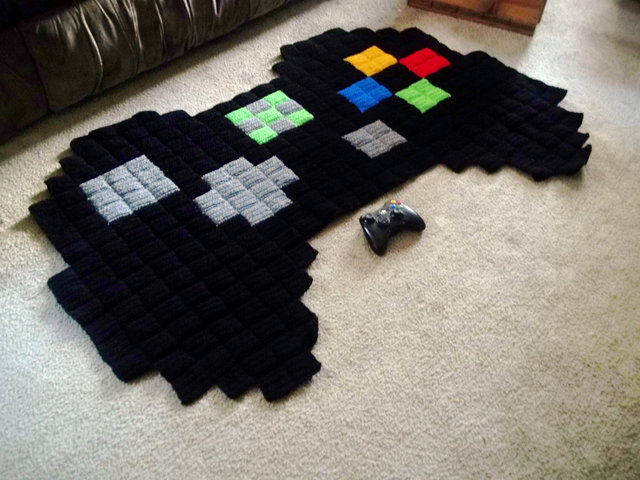 8 Bit Crocheted Video Game Rugs