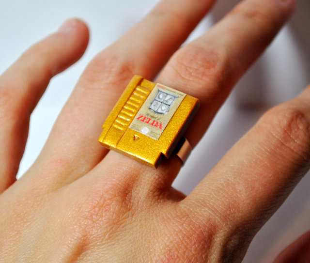 Miniature NES Video Game Cartridge Rings