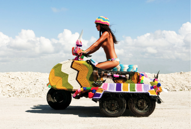 Crocheted scooter by Magda Sayeg