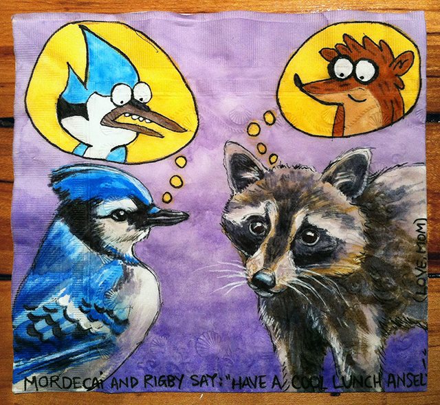 Mordecai and Rigby from Regular Show with Blue Jay and Raccoon