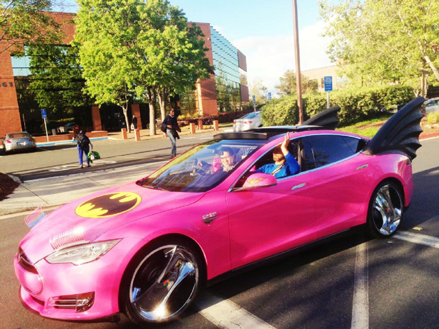 Sergey Brins Tesla Was Turned Into A Pink Batmobile With Eyelashes