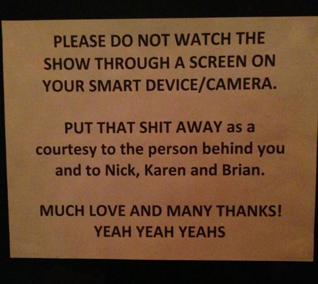 Camera and phone sign by Yeah Yeah Yeahs