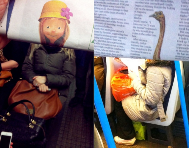 Hilarious commuter newspaper photos