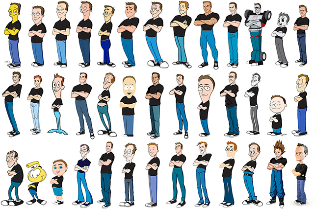 Artist Kevin McShane Draws Himself in 100 Different Cartoon Styles