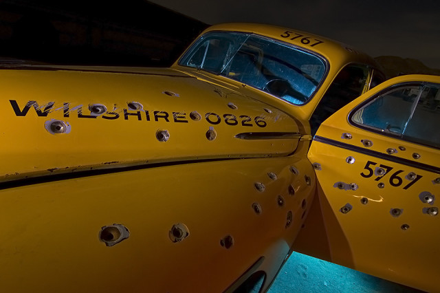 Night photos of movie prop cars by Troy Paiva