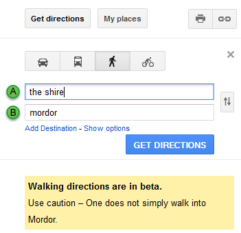 Amusing 'Lord of the Rings' Walking Directions From the Shire to Mordor in Google Maps
