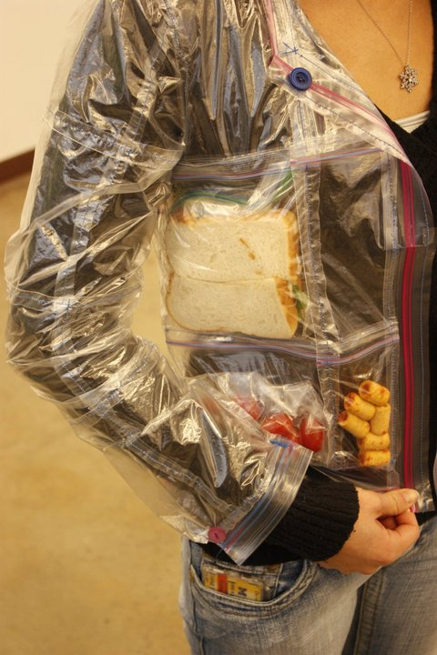 A Creative Crafter Named Diane Made Jacket Out Of Plastic Ziploc Bags And Then Naturally Filled It With Sandwich All Kinds Snacks Like Cereal