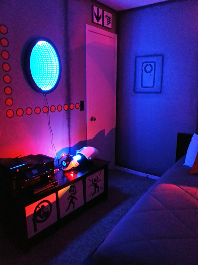 Gamer creates an incredible 39 portal 39 themed bedroom for Geek bedroom ideas