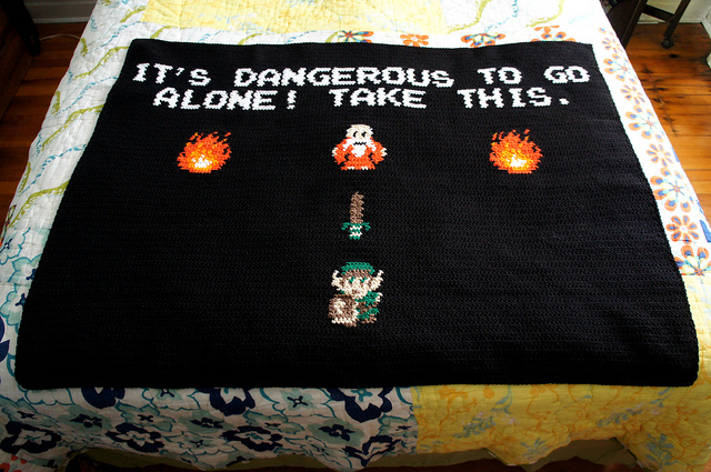 Crocheted Retro Video Game Throw Blankets