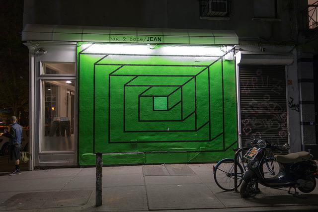 3D Geometric Street Art by Aakash Nihalani  at rag & bone in SoHo