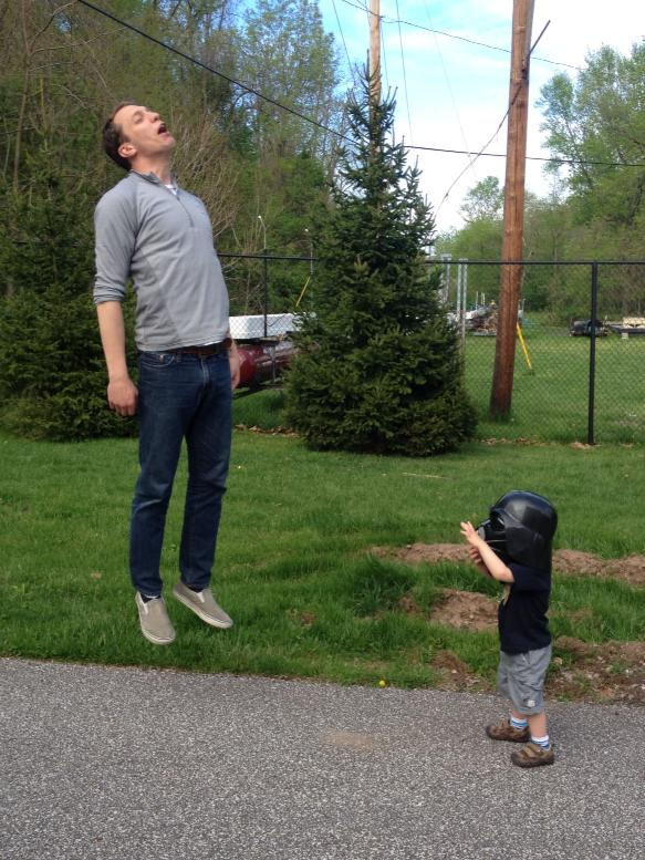 Photo of a Little Kid in a Darth Vader Helmet 'Vadering' a ... Vadering