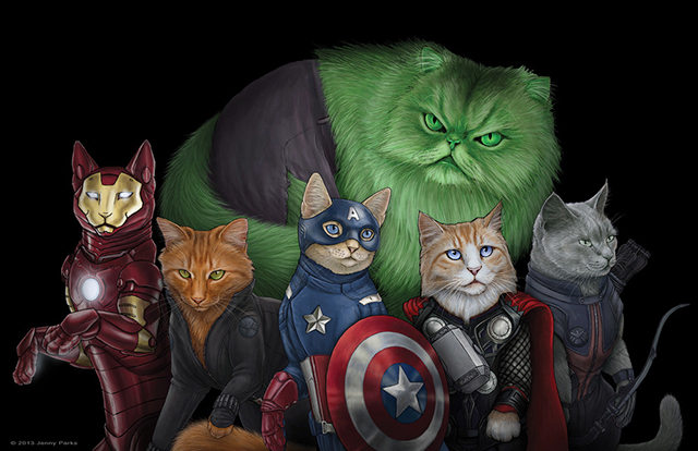 Cats Illustrated as Comic Book Superheroes, Villains & Daryl Dixon by Jenny Parks